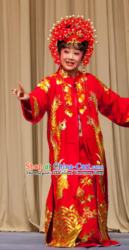 Chinese Ping Opera Bride Fei Jie Young Female Apparels Costumes and Headpieces Traditional Pingju Opera Hua Tan Red Dress Garment