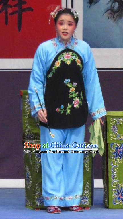 Chinese Ping Opera Xiaodan Costumes Flower a Matchmaker Apparels and Headpieces Traditional Pingju Opera Dress Young Female Garment