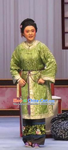 Chinese Ping Opera Fei Jie Elderly Dame Apparels Costumes and Headpieces Traditional Pingju Opera Old Female Green Dress Garment