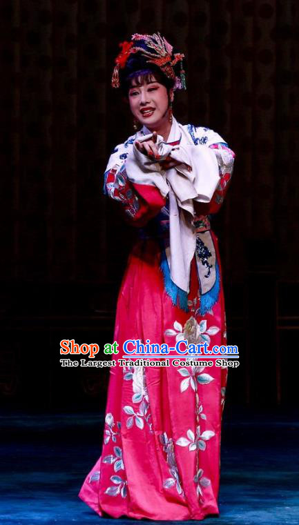 Chinese Ping Opera Diva Wedding Apparels Costumes and Headpieces Nao Yan Fu Traditional Pingju Opera Bride Dress Actress Yan Lanzhen Garment