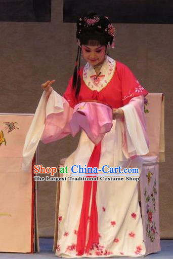 Chinese Ping Opera Young Lady Piao Xiang Apparels Costumes and Headpieces Nao Yan Fu Traditional Pingju Opera Xiaodan Dress Garment