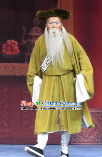 Yuan Yang Pu Chinese Ping Opera Old Man Costumes and Headwear Pingju Opera Laosheng Apparels Elderly Male Clothing