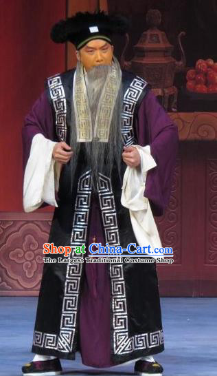 Yuan Yang Pu Chinese Ping Opera Landlord Costumes and Headwear Pingju Opera Laosheng Apparels Old Man Clothing