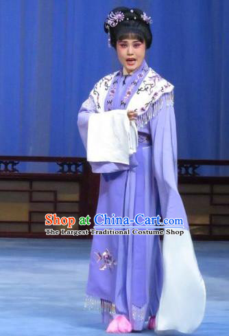 Chinese Ping Opera Young Lady Apparels Costumes and Headdress Yuan Yang Pu Traditional Pingju Opera Huadan Purple Dress Garment