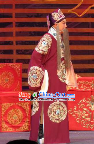 The Five Female Worshipers Chinese Ping Opera Elderly Male Costumes and Headwear Pingju Opera Old Landlord Yang Jikang Apparels Clothing