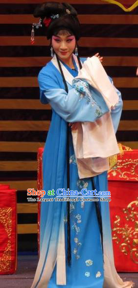 Chinese Ping Opera Huadan Apparels Costumes and Headpieces The Five Female Worshipers Traditional Pingju Opera Actress Yang Sanchun Blue Dress Garment