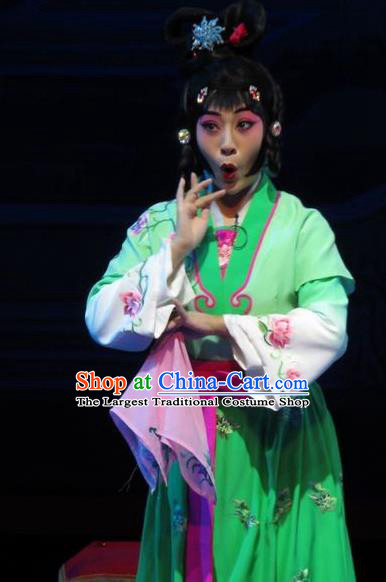 Chinese Ping Opera Servant Girl Apparels Costumes and Headpieces The Five Female Worshipers Traditional Pingju Opera Young Lady Green Dress Garment