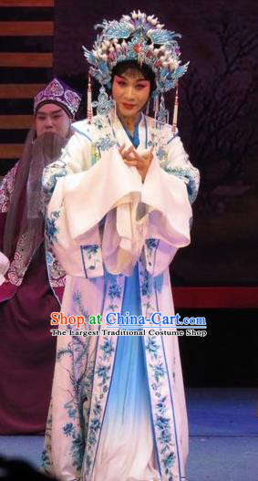 Chinese Ping Opera Yang Sanchun Apparels Costumes and Headdress The Five Female Worshipers Traditional Pingju Opera Hua Tan White Dress Garment