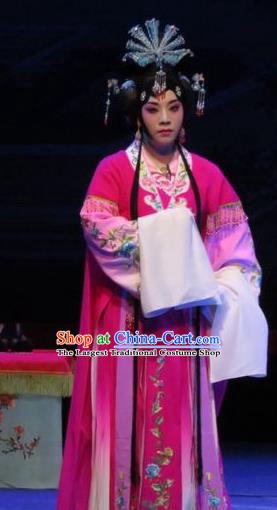Chinese Ping Opera Actress Apparels Costumes and Headpieces The Five Female Worshipers Traditional Pingju Opera Diva Shuang Tao Rosy Dress Garment