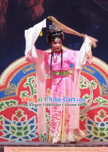 Chinese Ping Opera Hua Tan Apparels Costumes and Headpieces Legend of Love Traditional Pingju Opera Diva Zhi Nv Pink Dress Goddess Garment
