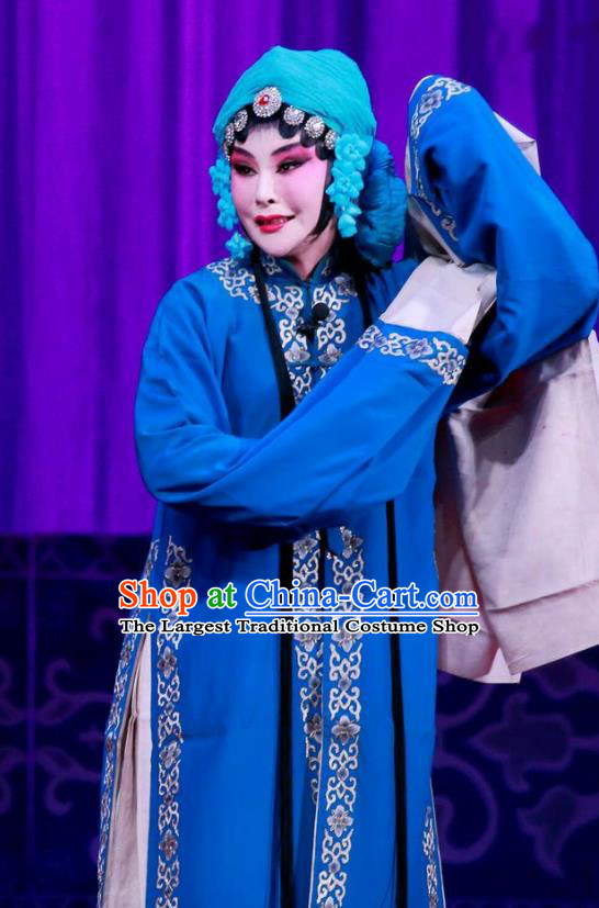 Chinese Ping Opera Distress Maiden Wang Yuying Apparels Costumes and Headpieces Remember Back to the Cup Traditional Pingju Opera Young Female Blue Dress Garment
