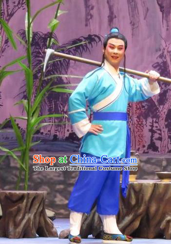 Legend of Love Chinese Ping Opera Farmer Costumes and Headwear Pingju Opera Xiaosheng Apparels Clothing