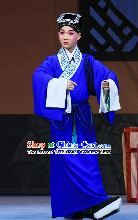 Linjiang Post Chinese Ping Opera Xiaosheng Costumes and Headwear Pingju Opera Scholar Cui Tong Apparels Clothing