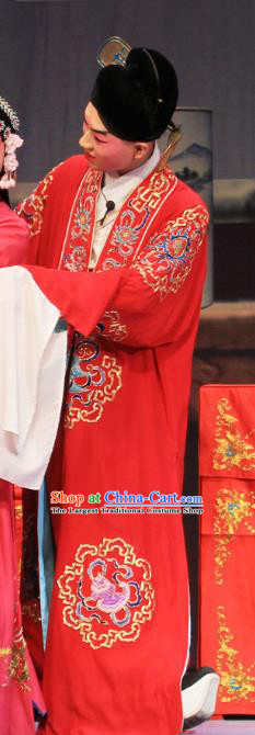 Linjiang Post Chinese Ping Opera Groom Costumes and Headwear Pingju Opera Young Male Apparels Scholar Cui Tong Clothing