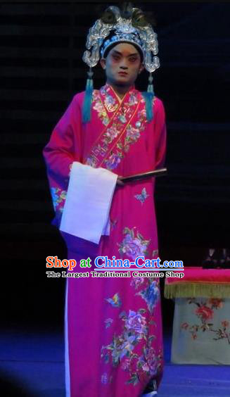 The Five Female Worshipers Chinese Ping Opera Scholar Rosy Robe Costumes and Headwear Pingju Opera Xiaosheng Scholar Apparels Clothing