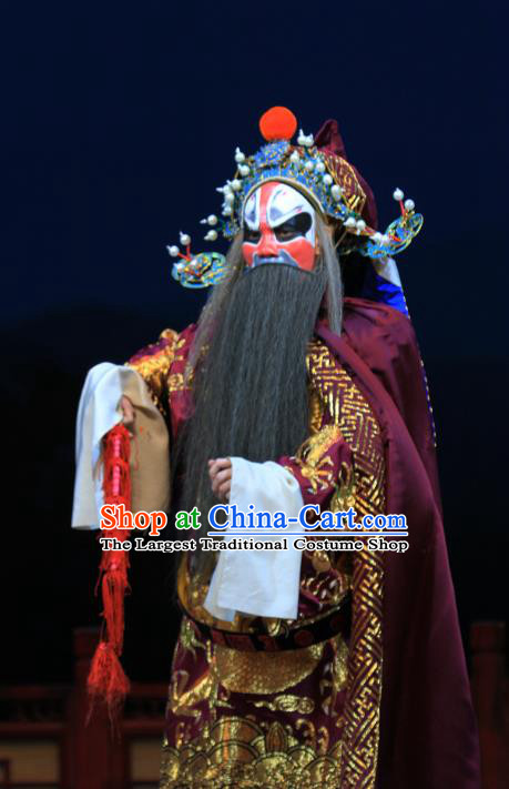 Linjiang Post Chinese Ping Opera Elderly Man Costumes and Headwear Pingju Opera Laosheng Apparels Clothing Official Zhang Tianjue Embroidered Robe