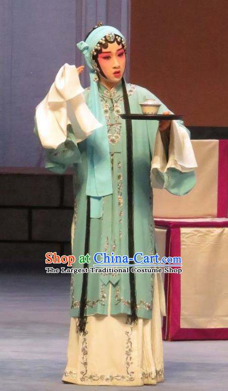 Chinese Ping Opera Actress Apparels Costumes and Headpieces Linjiang Post Traditional Pingju Opera Hua Tan Zhang Cuilan Dress Garment