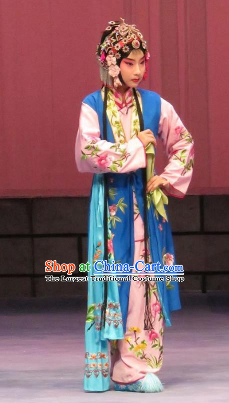 Chinese Ping Opera Young Lady Apparels Costumes and Headpieces Linjiang Post Traditional Pingju Opera Maidservant Dress Garment