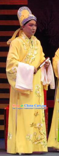 The Five Female Worshipers Chinese Ping Opera Scholar Yellow Robe Costumes and Headwear Pingju Opera Xiaosheng Apparels Clothing