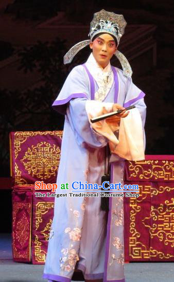 The Five Female Worshipers Chinese Ping Opera Xiaosheng Costumes and Headwear Pingju Opera Apparels Young Male Scholar Embroidered Clothing