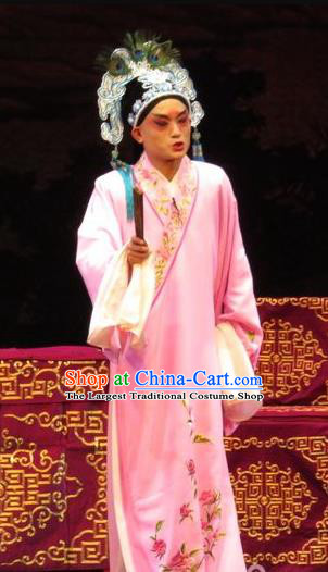 The Five Female Worshipers Chinese Ping Opera Xiaosheng Costumes and Headwear Pingju Opera Young Male Scholar Apparels Pink Embroidered Robe Clothing