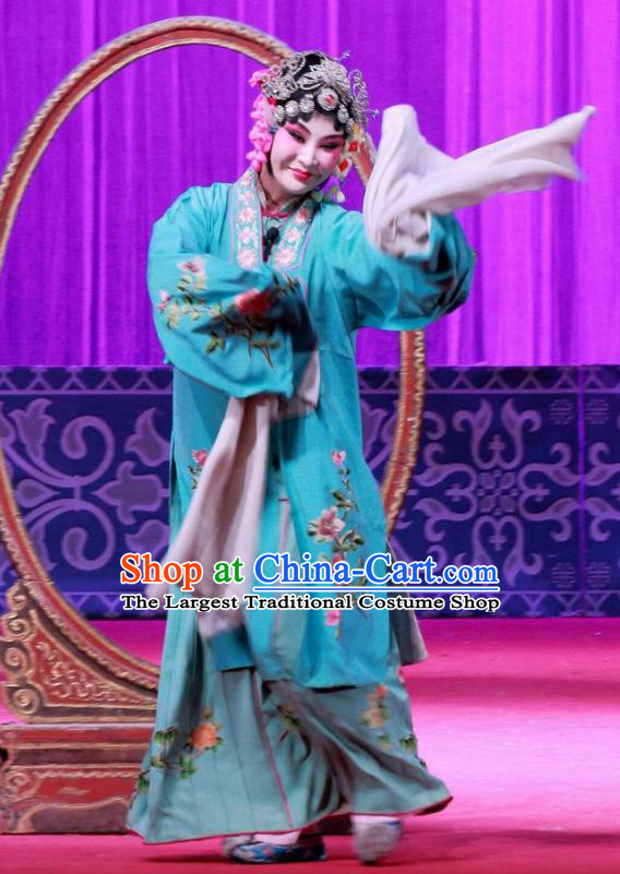 Chinese Ping Opera Actress Apparels Costumes and Headpieces Remember Back to the Cup Traditional Pingju Opera Diva Wang Yuying Blue Dress Garment