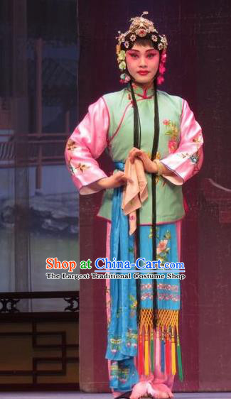 Chinese Ping Opera Servant Girl Apparels Costumes and Headpieces Remember Back to the Cup Traditional Pingju Opera Dress Young Lady Garment