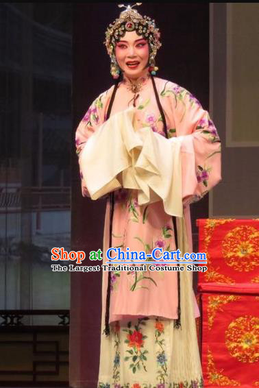 Chinese Ping Opera Diva Apparels Costumes and Headpieces Remember Back to the Cup Traditional Pingju Opera Actress Pink Dress Garment
