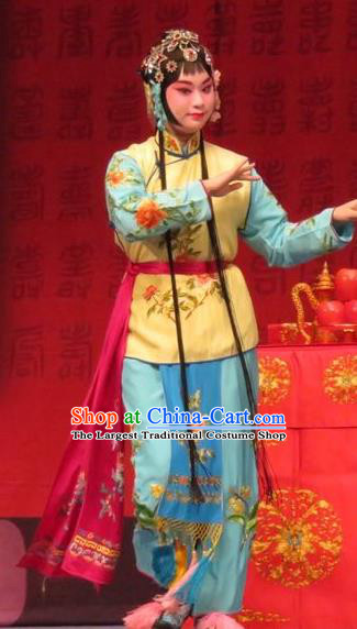 Chinese Ping Opera Female Servant Apparels Costumes and Headpieces Remember Back to the Cup Traditional Pingju Opera Xiaodan Dress Garment