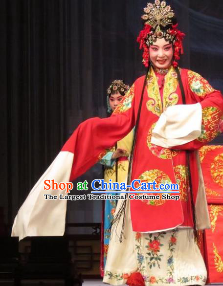 Chinese Ping Opera Remember Back to the Cup Bride Apparels Costumes and Headpieces Traditional Pingju Opera Diva Wang Yuying Red Dress Garment