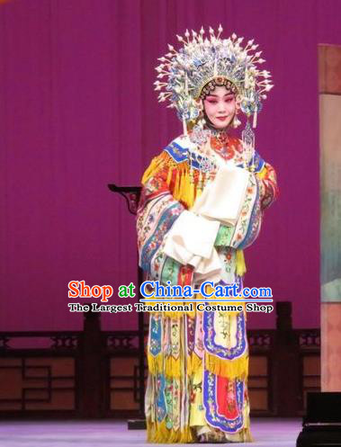 Chinese Ping Opera The Arrogant Princess Diva Apparels Costumes and Headdress Traditional Pingju Opera Garment Hua Tan Embroidered Dress
