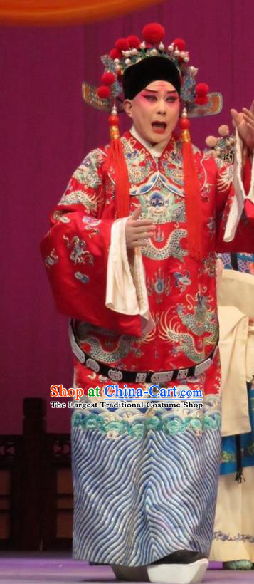 The Arrogant Princess Chinese Ping Opera Noble Childe Guo Ai Costumes and Headwear Pingju Opera Scholar Young Male Apparels Clothing