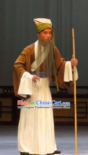 Li Xianglian Selling Paintings Chinese Ping Opera Old Man Costumes and Headwear Pingju Opera Elderly Male Apparels Clothing