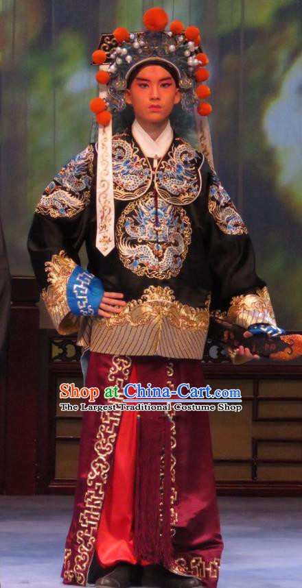 Li Xianglian Selling Paintings Chinese Ping Opera Martial Man Costumes and Headwear Pingju Opera Bodyguard Apparels Clothing