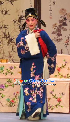Peach Blossom Temple Chinese Ping Opera Xiaosheng Young Man Costumes and Headwear Pingju Opera Scholar Zhang Cai Apparels Clothing