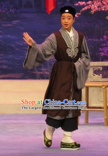 Peach Blossom Temple Chinese Ping Opera Taoist Nun Costumes and Headwear Pingju Opera Young Male Zhang Cai Apparels Clothing
