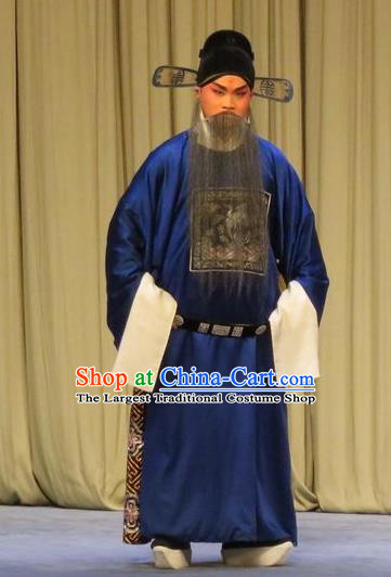 Peach Blossom Temple Chinese Ping Opera Laosheng Elderly Male Costumes and Headwear Pingju Opera County Magistrate Apparels Clothing