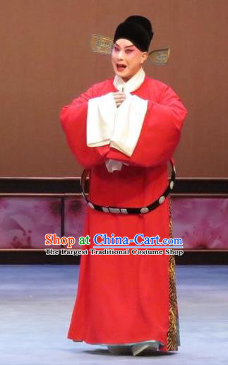 Peach Blossom Temple Chinese Ping Opera Young Male Costumes and Headwear Pingju Opera Xiaosheng Apparels Scholar Official Clothing