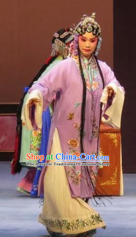 Chinese Ping Opera Apparels Actress Costumes and Headdress Peach Blossom Temple Traditional Pingju Opera Diva Young Mistress Purple Dress Garment