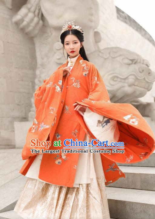 Chinese Traditional Ming Dynasty Noble Female Historical Costumes Ancient Court Princess Embroidered Hanfu Dress Apparels for Women