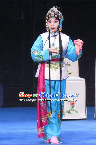 Chinese Ping Opera Young Lady Costumes Apparels and Headpieces Traditional Pingju Opera Xiaodan Maidservant Dress Garment