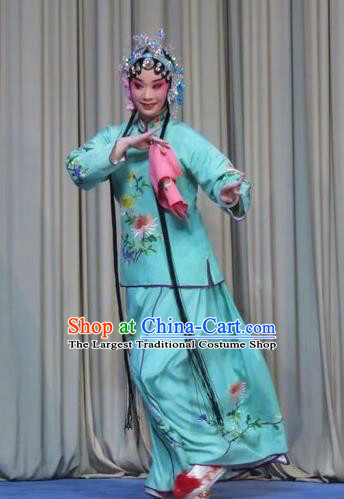 Chinese Ping Opera Huadan Costumes Apparels and Headpieces Traditional Pingju Opera Young Beauty Green Dress Actress Garment