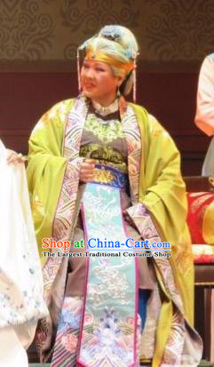 Chinese Ping Opera Vieille Dame Jia Apparels Costumes and Headpieces Baoyu and Daiyu Traditional Pingju Opera Dowager Countess Dress Garment