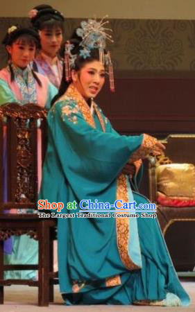 Chinese Ping Opera Noble Dame Apparels Costumes and Headpieces Baoyu and Daiyu Traditional Pingju Opera Female Green Dress Garment