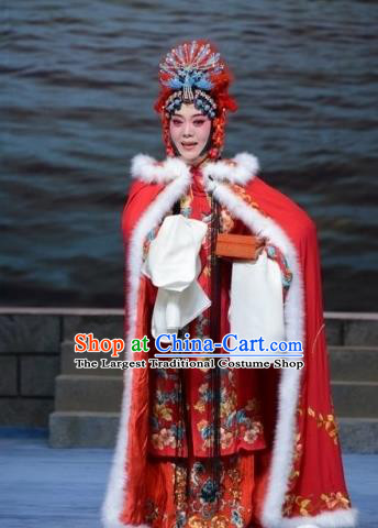 Chinese Ping Opera Hua Tan Apparels Costumes and Headpieces Traditional Pingju Opera The Beautiful Courtesan Diva Du Shiniang Red Dress Garment