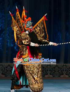 Ma Zhaoyi Chinese Ping Opera General Kao Armor Suit with Flags Costumes and Headwear Pingju Opera Elderly Male Apparels Clothing