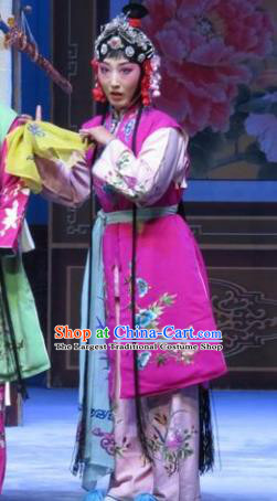 Chinese Ping Opera Young Lady Xiaodan Apparels Costumes and Headpieces Traditional Pingju Opera San Kan Yu Mei Servant Girl Rosy Dress Garment
