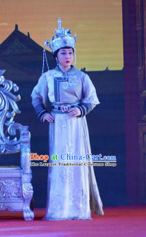 Chinese Ping Opera Empress Costumes Apparels and Headdress Xiaozhuang Changge Traditional Pingju Opera Diva Dress Queen Garment
