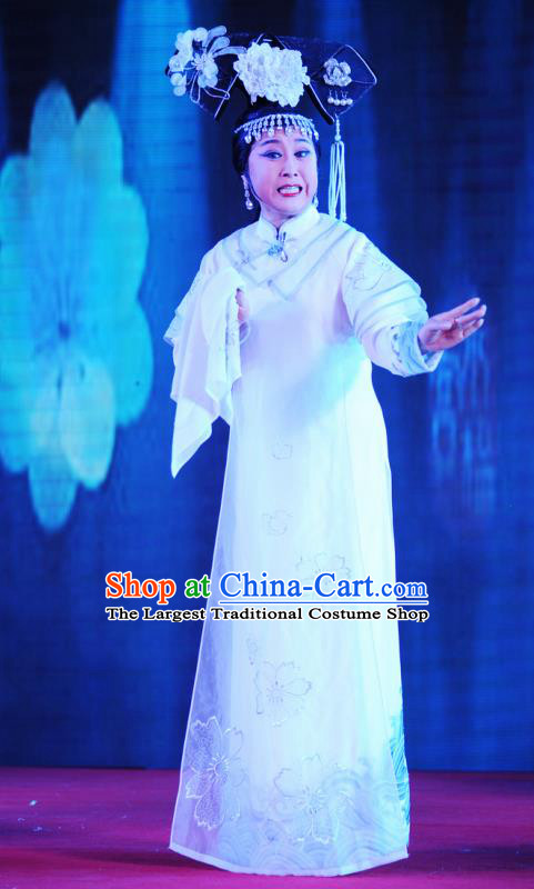 Chinese Ping Opera Queen Costumes Apparels and Headdress Xiaozhuang Changge Traditional Pingju Opera Diva Empress Dress Garment