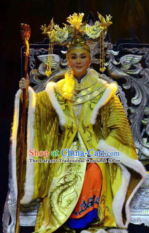 Chinese Ping Opera Queen Mother Golden Costumes Apparels and Headdress Xiaozhuang Changge Traditional Pingju Opera Empress Dowager Dress Garment